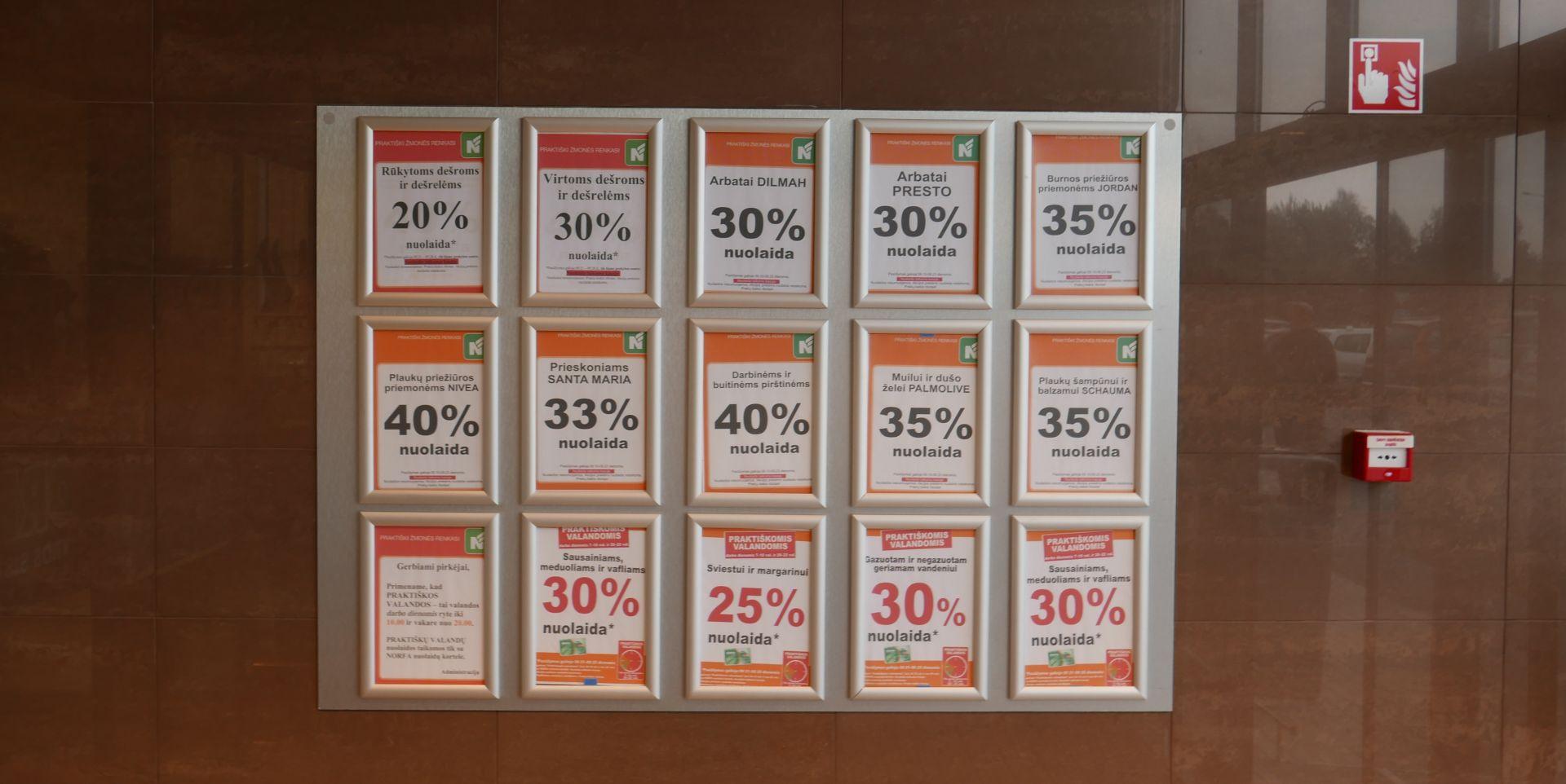 Akcijų skelbimų lenta prekybos centre