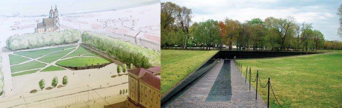 Lukiškių aikštės memorialo projektas ir Vietnam Veterans Memorial Washington'e